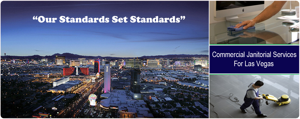 Home page banner with picture of Las Vegas and two Las Vegas Janitorial Services pictures of people cleaning.